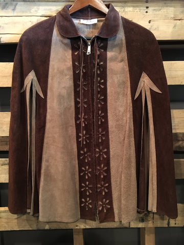 Vintage 1970's Leather Poncho