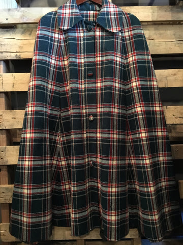 Vintage Plaid Cape with Arm Slots