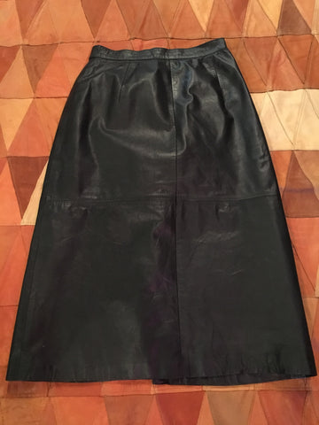 West Bay Made For Saks Fifth Ave Black Leather Skirt