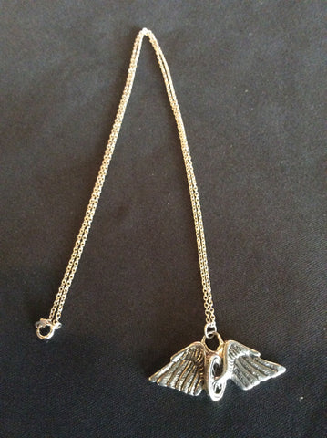 Vintage Wheel and Wings Necklace