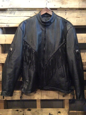 Black Genuine Leather Fringe Jacket