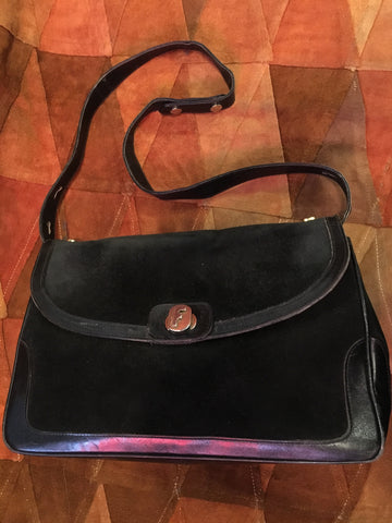 Vintage Salvatore Ferragamo Black Suede Shoulder Bag