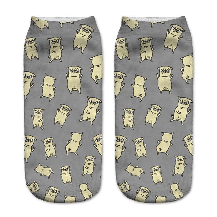 Women's Low Cut Ankle Socks Pugs