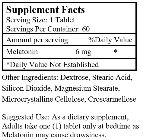 Melatonin (60 Tablets/ 6 mg)