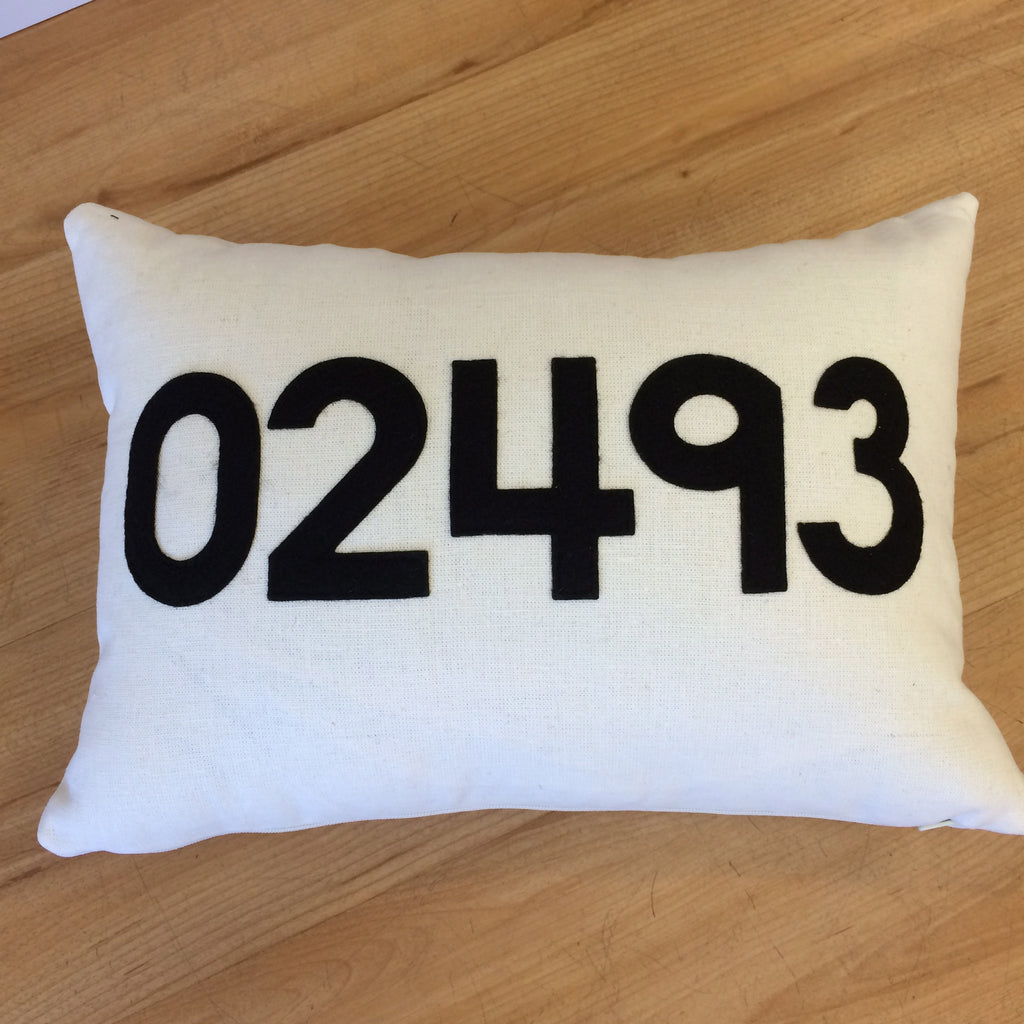 Weston 02493 Canvas and Felt Zip Code Pillow