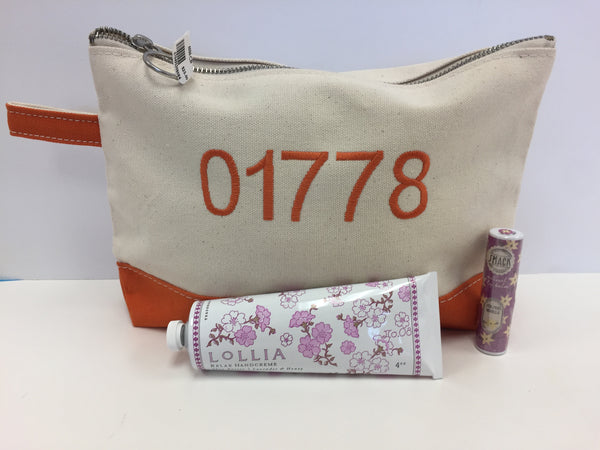 Zip Code Canvas Cosmetic Case