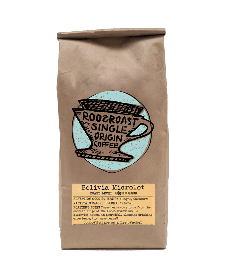 Bolivia Microlot Coffee beans. RoosRoast Single Origin coffee beans 12 oz.