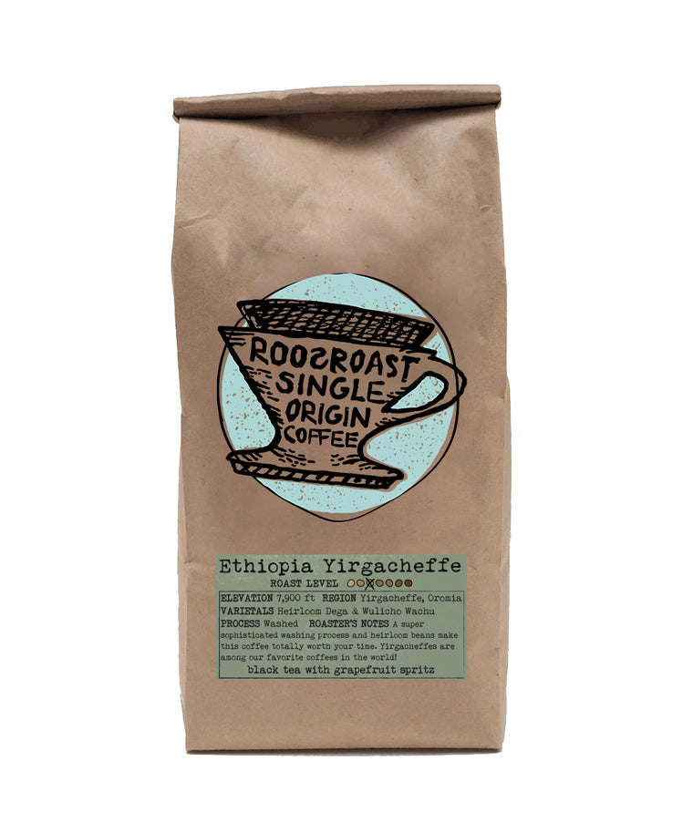 Coffee beans Ethiopia Yirgacheffe single origin. RoosRoast coffee 12 oz.