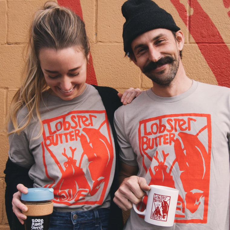 Lobster Butter Love Tee shirt roosroast coffee