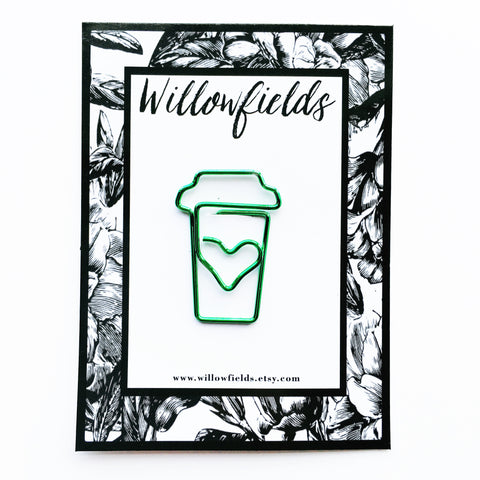 Green Coffee Planner Clip - willowfields