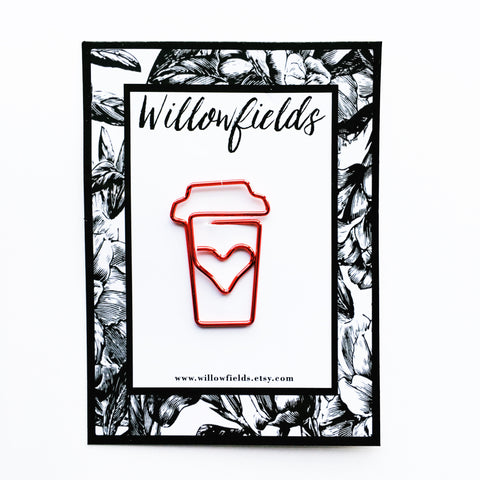 Red Coffee Planner Clip - willowfields