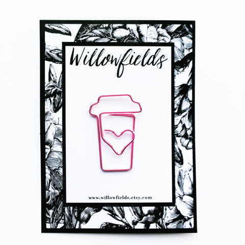 Pink Coffee Planner Clip - willowfields