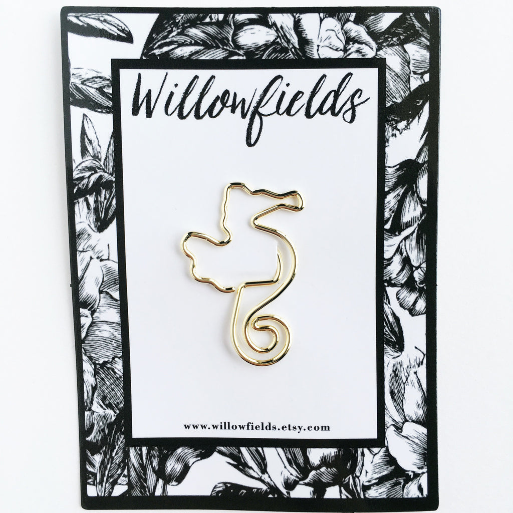 SALE || Gold Seahorse Planner Clip - willowfields