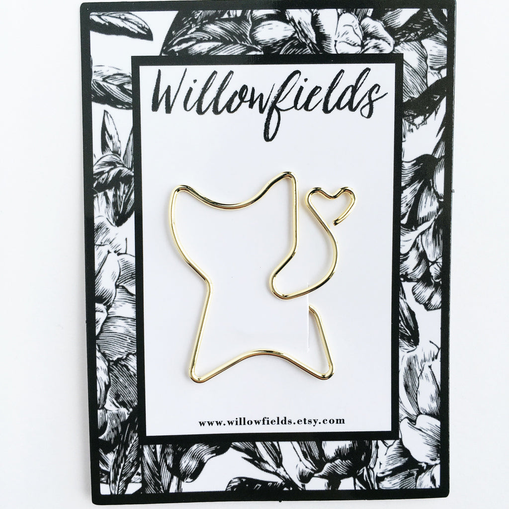 Gold Cat Planner Clip - willowfields