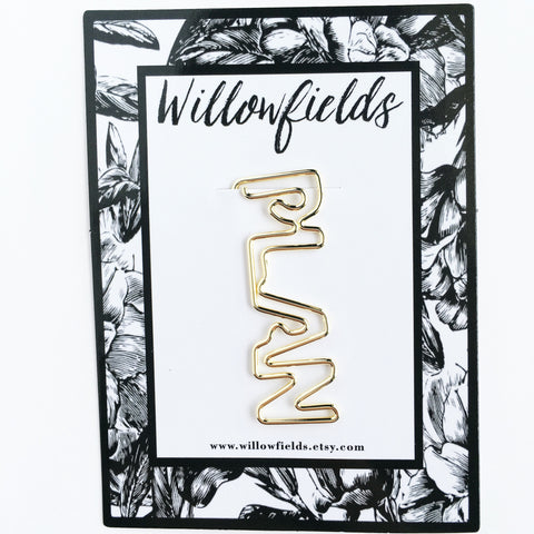 Gold PLAN Planner Clip - willowfields