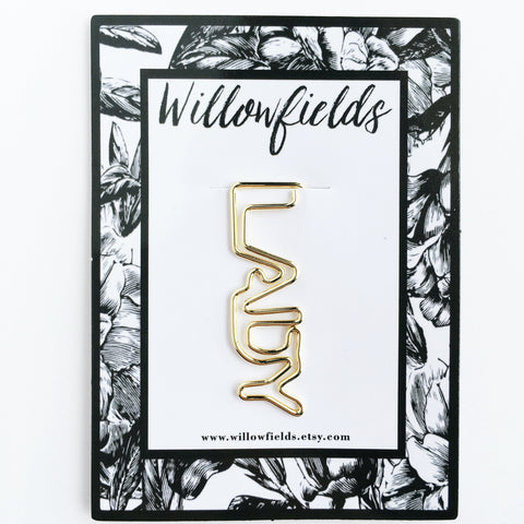 Gold LADY Planner Clip - willowfields