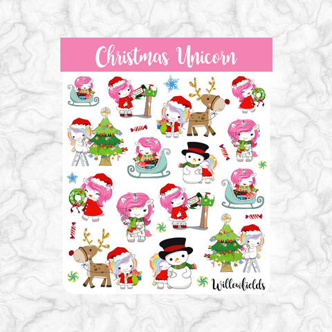 Christmas Unicorn || 25 stickers
