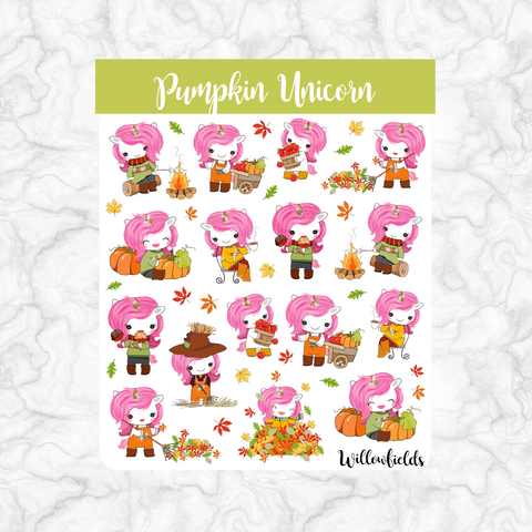 Pumpkin Unicorn || 25 stickers
