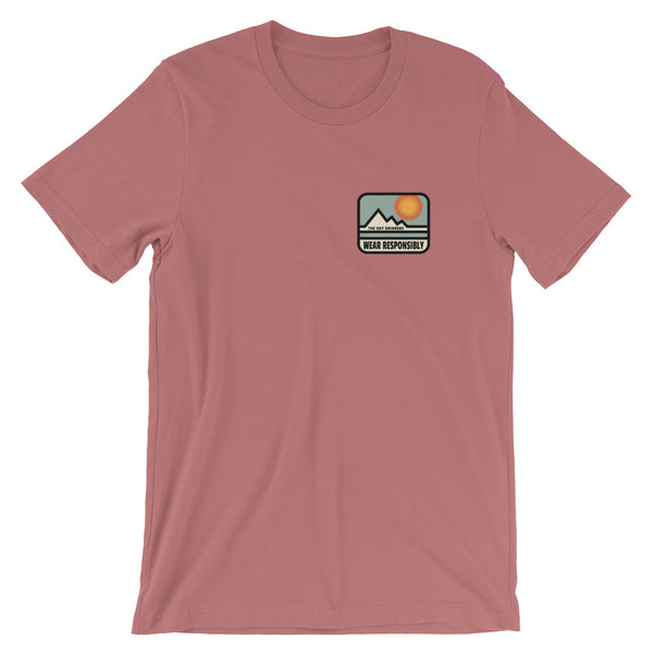 *Wear Responsibly Mountain Patchwork Short-Sleeve Unisex T-Shirt