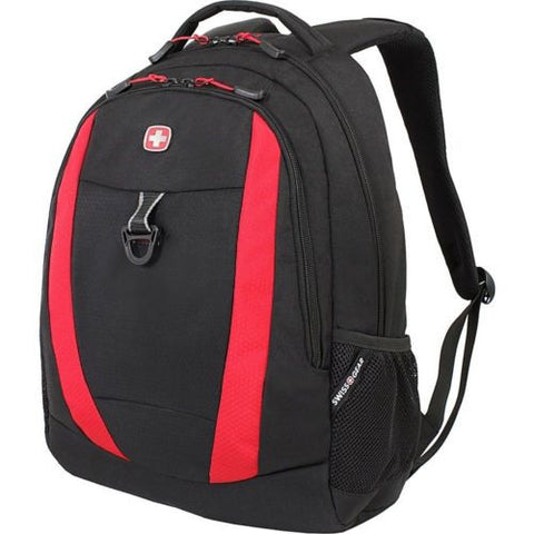 "Swiss Gear Travel Gear 18""x13""x8"" Backpack 6969 School Camp Day Pack Red Black - Top to Bottom Childrens Store"