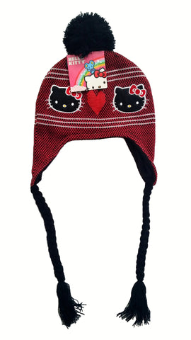 Hello Kitty Girls Warm Ear Covering Black Stripe Knit Hat - Top to Bottom Childrens Store