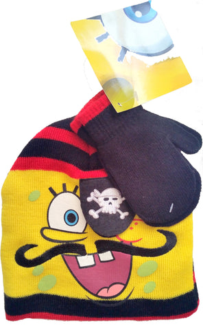 Sponge Bob Square Pants Knit Hat & Mittens Set - Top to Bottom Childrens Store