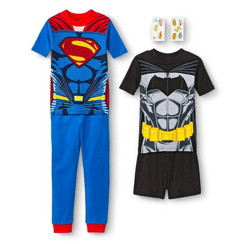 DC Comics Batman and Superman Boys' 4-Piece Pajama Set - Top to Bottom Childrens Store