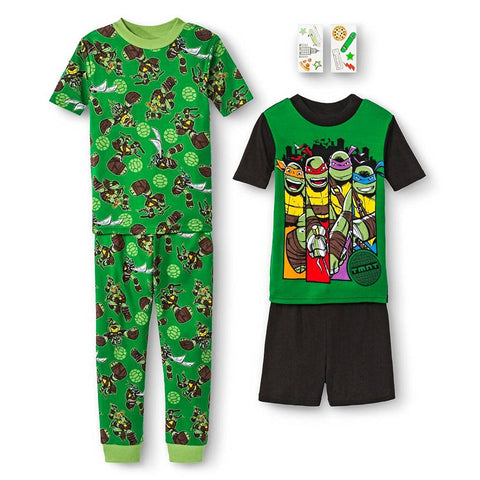 Teenage Mutant Ninja Turtles Boys' 4-Piece Pajama Set Boys 4-16 - Top to Bottom Childrens Store