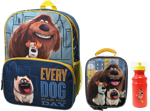 "The Secret Life of Pets Metro Pets 16"" Backpack, Lunch Box & Water Bottle - Top to Bottom Childrens Store"