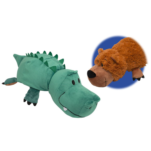 FLIP A ZOO - Grizzly Bear To Alligator 2-in-1 Stuffed Animal 16-inch FLIPAZOO - Top to Bottom Childrens Store