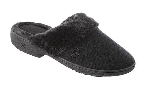 Womens Isotoner Black Slip On Fuzzy Cuff Scuff Mules Slippers