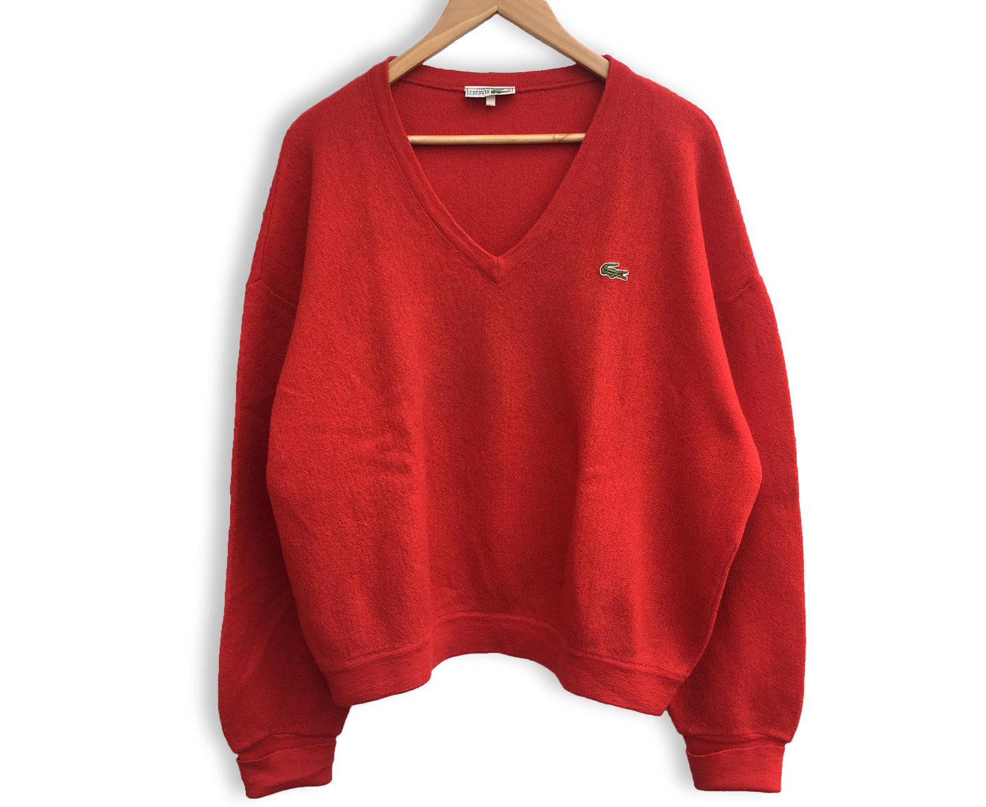 Vintage Lacoste Red V-Neck Sweater