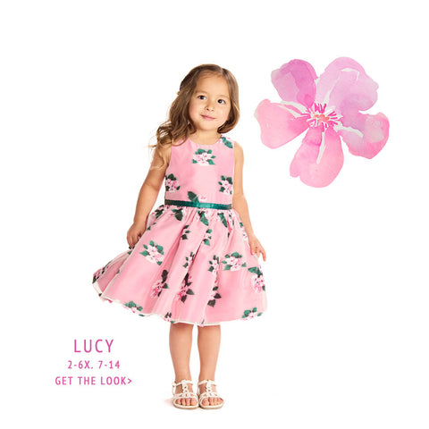Lucy Pink Floral Jacquard Dress