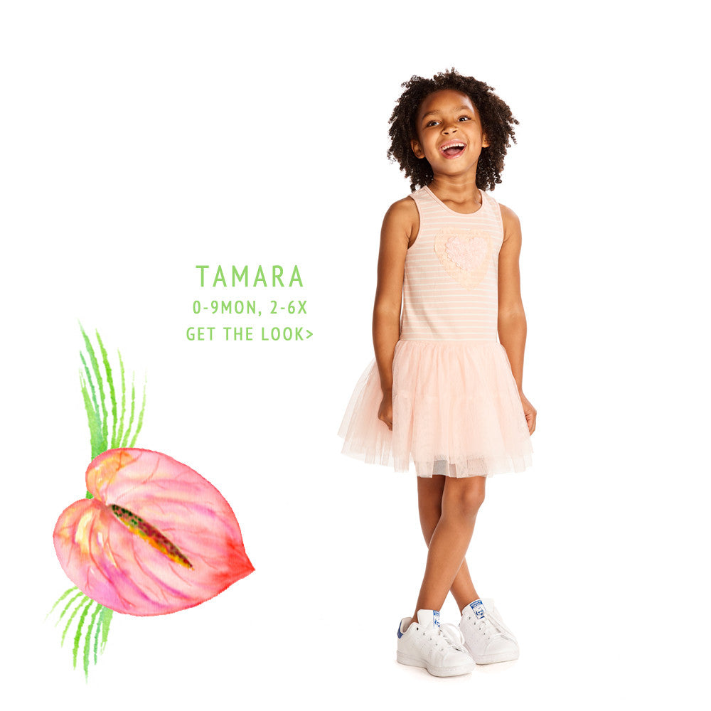 Tamara Peach Stripe Tutu Dress