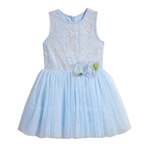 Toni Blue Embroidered Dress