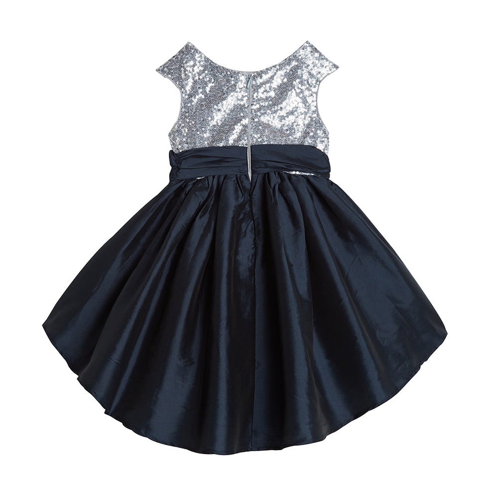 Alicia Silver and Navy Sequin Dress