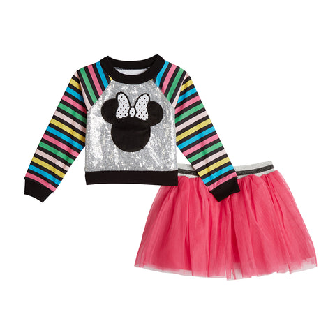 Disney X Pippa & Julie Minnie Stripe Sequin Skirt Set
