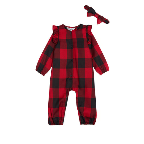 Avie Check Romper & Headband Set