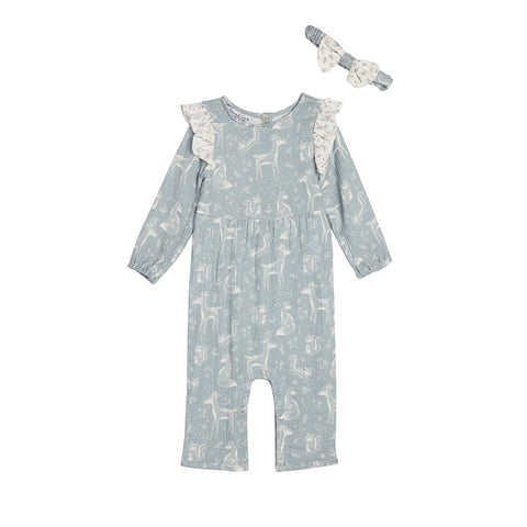 Ava Blue Print Romper & Headband Set