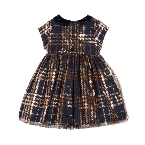 Debra Foil Plaid Dress