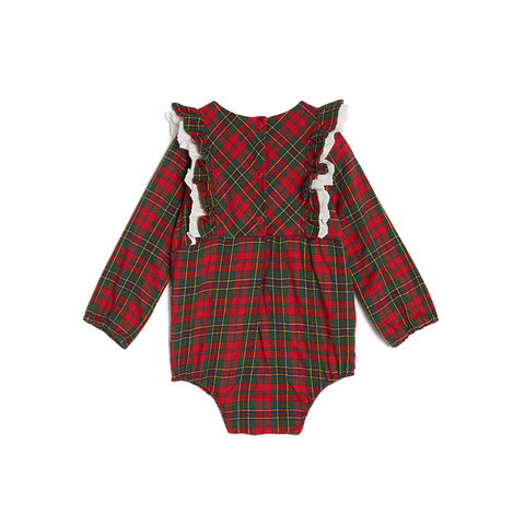 Sandy Plaid Bubble Romper