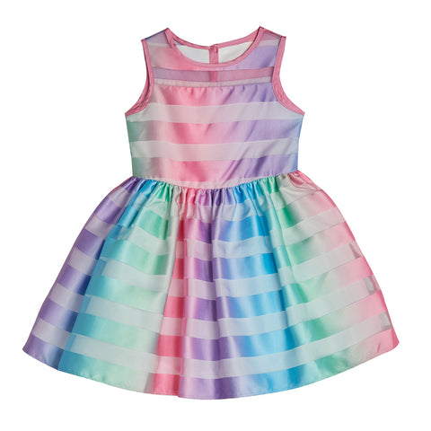 Irene Rainbow Shadow Stripe Dress