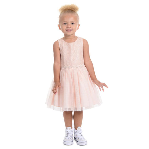 Tanya Peach Lace Ballerina Dress