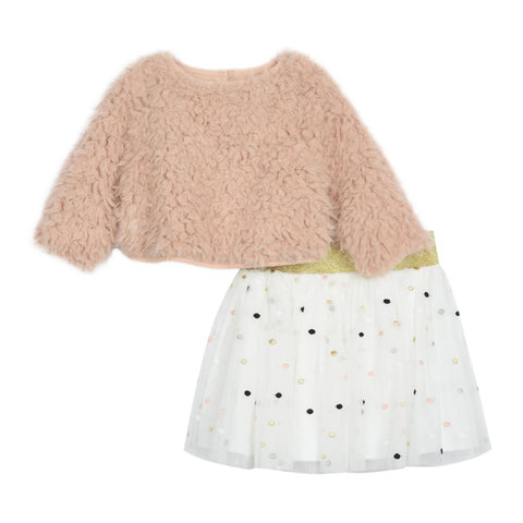 Aaliyah Blush Faux Fur Skirt Set