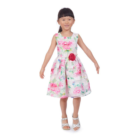 Angel Floral Shadow Stripe Dress