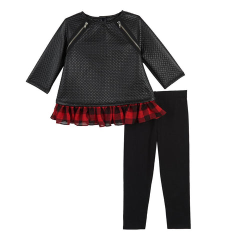 Artie Faux Leather Plaid Legging Set