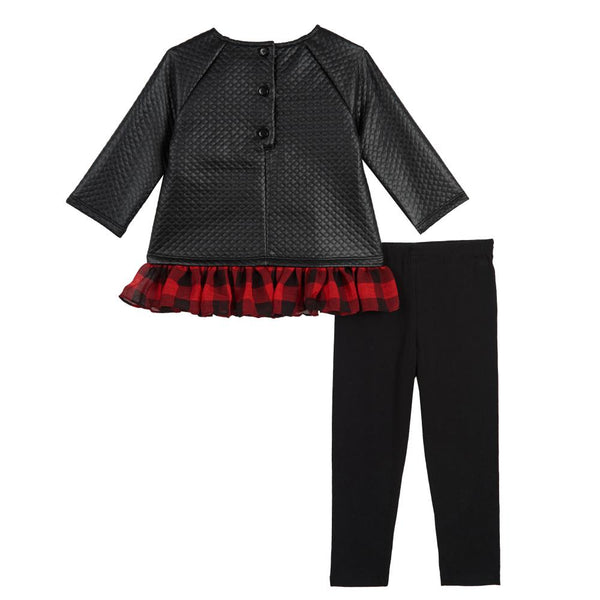 Dress - Artie Faux Leather Plaid Legging Set