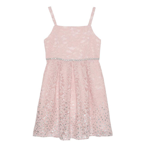 Callie Foil Border Lace Dress