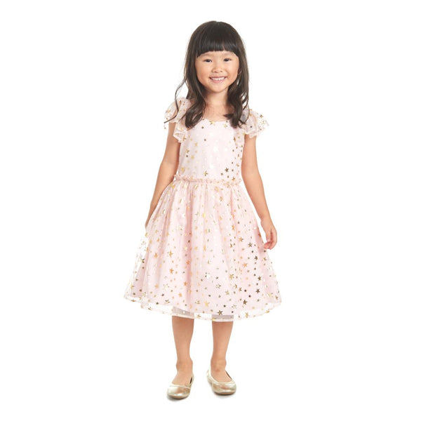 Dress - Fern Pink And Gold Stars Dress