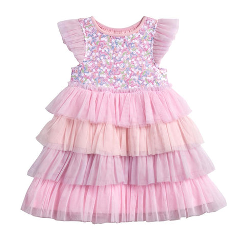 Leah Pink Sequin Tiered Dress